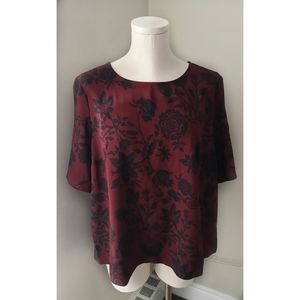 Ava & Viv Floral Print Blouse Cross back A29
